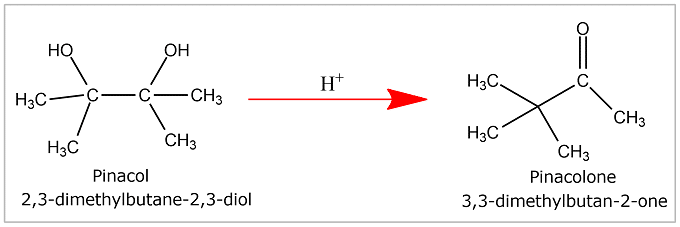 Example of Pinacol – Pinacolone rearrangement Reaction